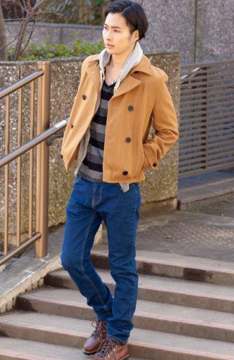 冬のメンズデート服コーデ【背の低い男性に似合うショート丈Pコート】<全身セット>